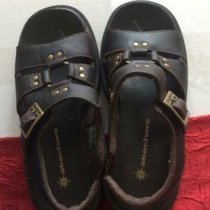 Sketchers brown leather sandals